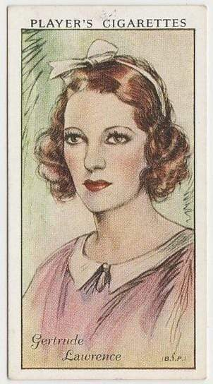 Gertrude Lawrence 1934 John Player Film Stars Tobacco Card 1st Series #31