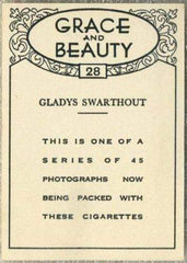 Gladys Swarthout 1938 BAT Grace and Beauty Tobacco Card #28