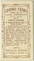 Gordon Harker 1933 Sarony Cinema Stars Tobacco Card #21