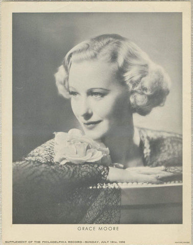 Grace Moore 1936 Dated Philadelphia Record Newspaper Supplement Photo M23