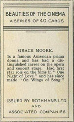 Grace Moore 1939 Rothmans Beauties of the Cinema Movie Star Tobacco Card