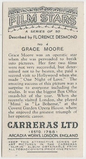Grace Moore 1936 Carreras Film Stars by Desmond Trading Card #4