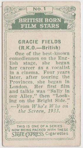 Gracie Fields 1934 Ardath British Born Film Stars Tobacco Card #1