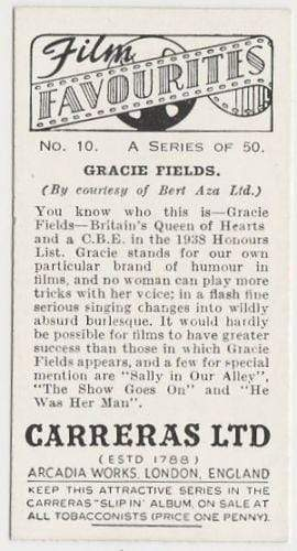 Gracie Fields 1938 Carreras Film Favourites Tobacco Card #10 - Movie Star