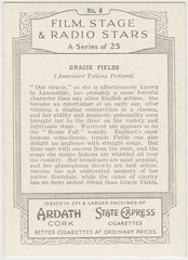 Gracie Fields 1935 Ardath Film, Stage & Radio Stars XL Trading Card #8