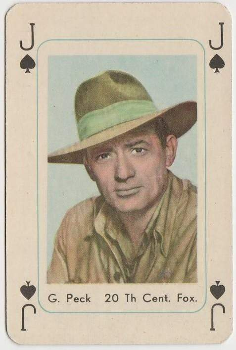 Gregory Peck Vintage 1950s Maple Leaf Playing Card of Film Star