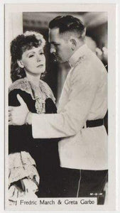 Greta Garbo + Fredric March 1937 John Sinclair Film Stars Tobacco Card #104