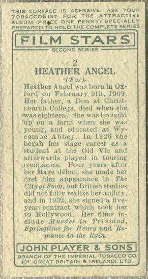 Heather Angel 1934 John Player Film Stars Trading Card 2nd Series #2