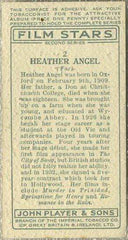 Heather Angel 1934 John Player Film Stars Tobacco Card 2nd Series #2