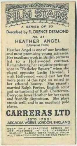 Heather Angel 1936 Carreras Film Stars by Desmond Trading Card #31