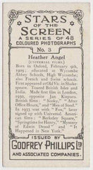 Heather Angel 1936 Godfrey Phillips Stars of the Screen Trading Card #3
