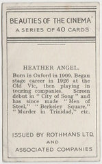 Heather Angel 1939 Rothmans Beauties of the Cinema Movie Star Trading Card