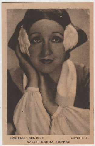 Hedda Hopper 1920s Kashin Motion Picture Stars Large Trading Card W618