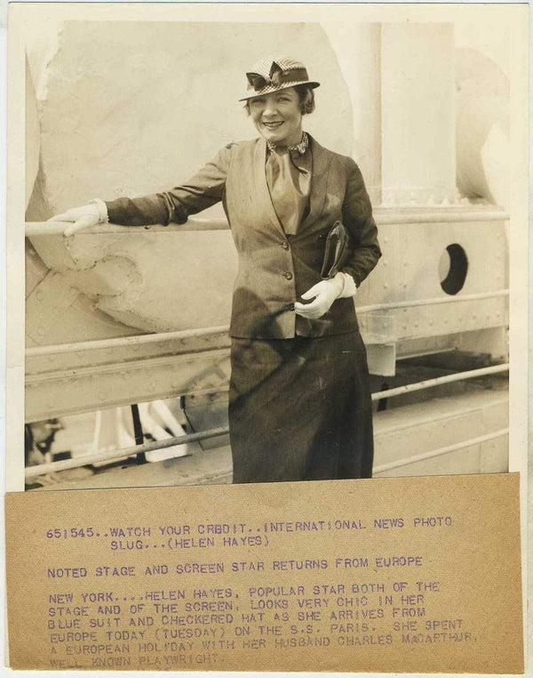 Helen Hayes 1933 6.5x8.5 Press Photo with Press Tag + International News Stamp