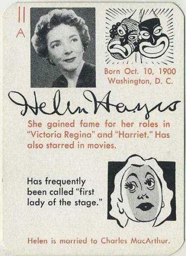 Helen Hayes 1945 Leister Autographs Game Card Trading Card EX-MT