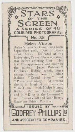 Helen Vinson 1936 Godfrey Phillips Stars of the Screen Tobacco Card #38
