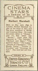 Herbert Marshall 1933 United Kingdom Co Cinema Stars Tobacco Card #21