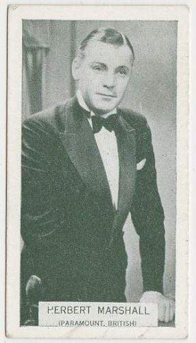Herbert Marshall 1934 Ardath British Born Film Stars Tobacco Card #20