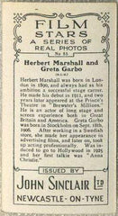 Herbert Marshall + Greta Garbo 1937 John Sinclair Film Stars Tobacco Card #55