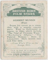 Herbert Mundin 1934 ARDATH British Born Film Stars Tobacco Card #35 LARGE