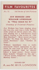 Joy Hodges + William Lundigan 1939 A & M Wix Film Favourites Trading Card #71