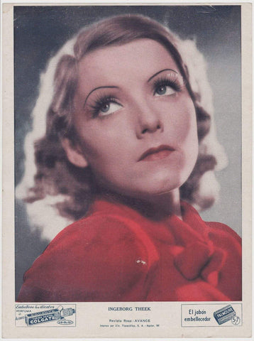 Ingeborg Theek circa 1937 COLGATE PALMOLIVE Movie Star Premium Photo from Cuba