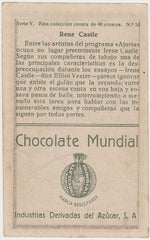 Irene Castle 1920s Chocolate Mundial Paper Stock Trading Card #16