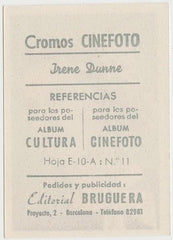 Irene Dunne 1930s Editorial Bruguera Cinefoto Paper Stock Trading Card #11