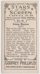 Irene Dunne 1934 Godfrey Phillips Stars of the Screen Tobacco Card #48