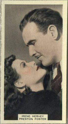 Irene Hervey + Preston Foster 1939 A & M Wix Film Favourites Tobacco Card #93