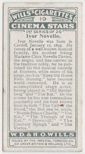 Ivor Novello 1928 Wills Cinema Stars Tobacco Card Series 1 #19