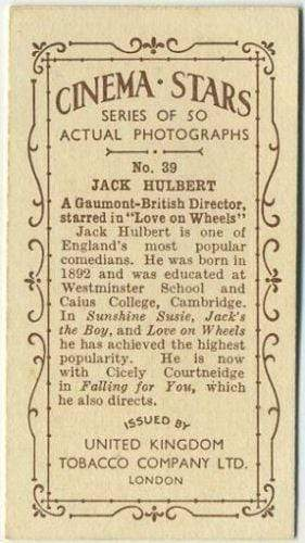 Jack Hulbert 1934 United Kingdom Tob. Co. Cinema Stars Tobacco Card #39