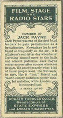 Jack Payne 1935 Ardath Film Stage and Radio Stars Tobacco Card #37