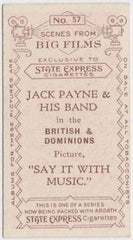 Jack Payne and His Band 1935 Ardath SCENES FROM BIG FILMS Tobacco Card #57