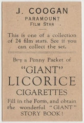 Jackie Coogan 1932 Australian Giant Licorice Film Stars Trading Card