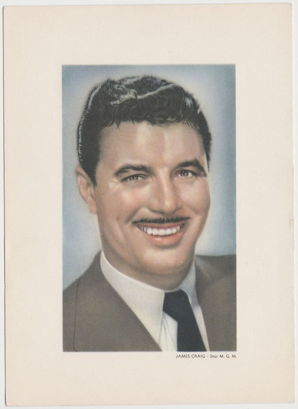 James Craig 1950 KWATTA Film Stars LARGE 5x7 Trading Card - White Type