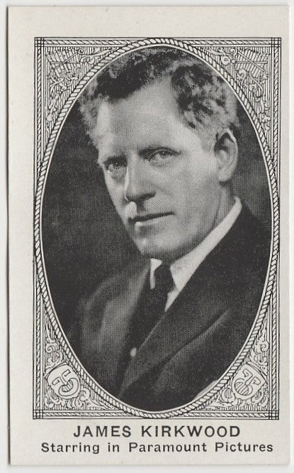 JAMES KIRKWOOD 1921 American Caramel TRADING CARD No# Blank Back