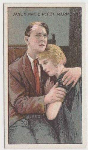 Jane Novak + Percy Marmont 1929 United Tobacco Movie Star Tobacco Card Flag Back