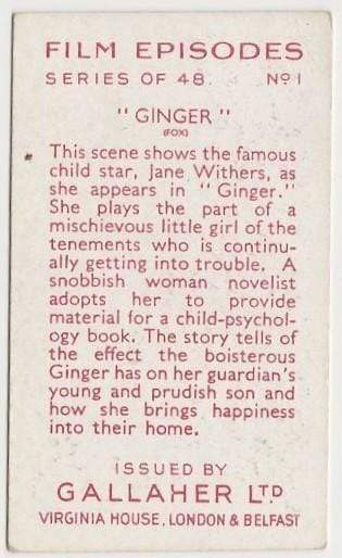Jane Withers in Ginger on 1936 Gallaher Film Episodes Tobacco Card #1