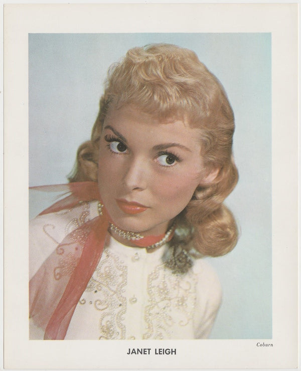 Janet Leigh 1950s Vintage Color Printed Photo on Paper by Coburn 5-5/8 x 7