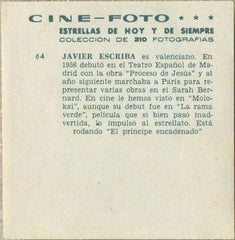 Javier Escriba 1960s Cine-Foto Large & Colorful Paper Stock Trading Card #64