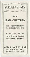 Jean Chatburn 1939 Abdulla Screen Stars Trading Card #6