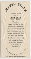 Jean Gillie 1936 Godfrey Phillips Screen Stars Trading Card #11