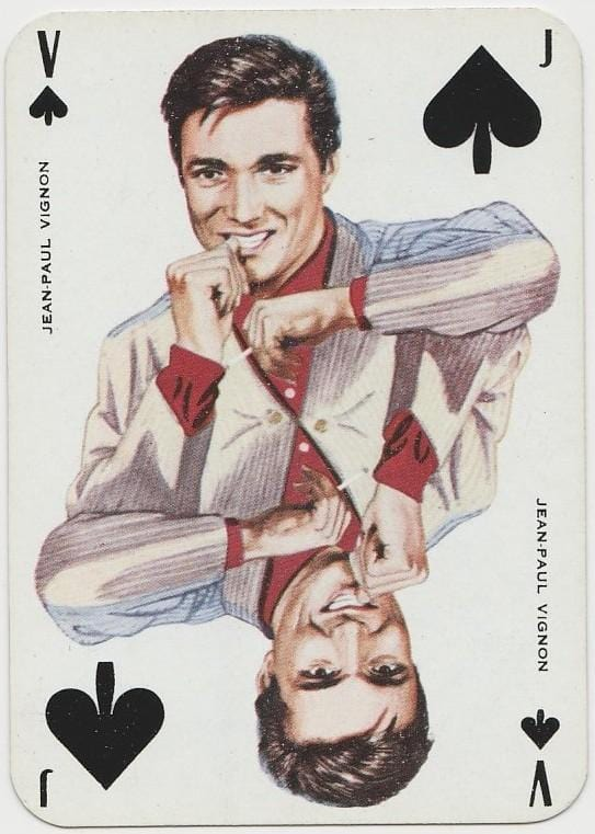 Jean-Paul Vignon 1950s Film Star on Blue Stallion Back Playing Card