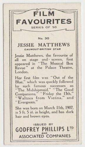 Jessie Matthews 1934 Godfrey Phillips Film Favourites Tobacco Card #30