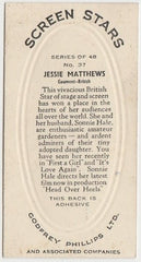 Jessie Matthews 1936 Godfrey Phillips Screen Stars Trading Card #37