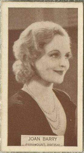 Joan Barry 1934 Wills Famous Film Stars Tobacco Card #73 - Standard Size