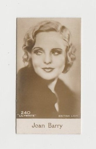 Joan Barry 1930 De Beukelaer Film Stars Small Trading Card #240