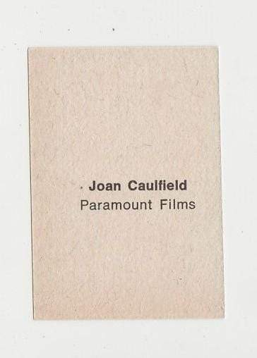 Joan Caulfield 1940s Paper Stock Trading Card - Film Frame Design - Pose #2