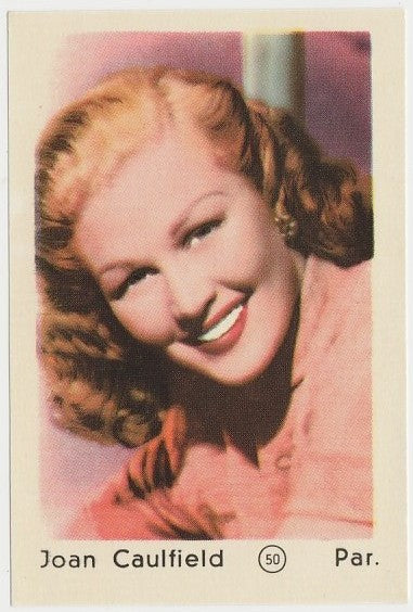 JOAN CAULFIELD 1952 Maple Leaf Gum Film Star PAPER STOCK Trading Card #50